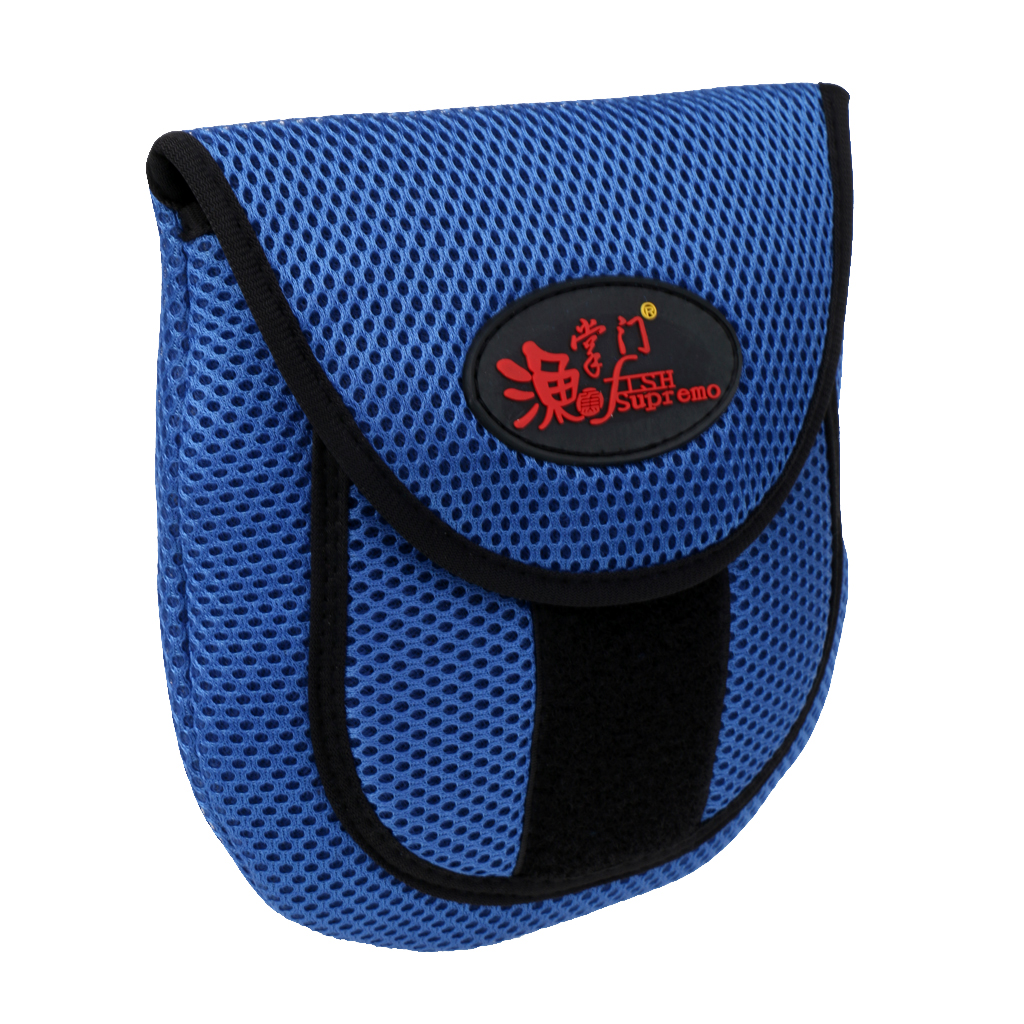 Mesh Cloth Fly Fishing Reel Storage Bag Protective Cover Case Pouch Reel Holder Protector Black/Blue 19.5 x 18 x 2cm