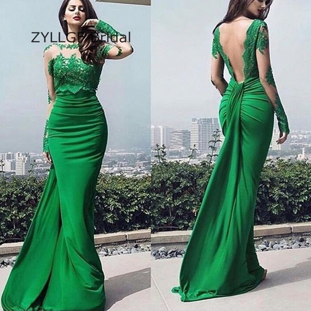 Zyllgf Y Long Sleeve Bridesmaid Gown Floor Length Green Wedding Party Wear Indian Dresses With