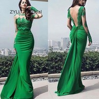 ZYLLGF Sexy Long Sleeve Bridesmaid Gown Floor Length Green Wedding Party Wear Indian Bridesmaid Dresses With Appliques SA49