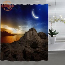 Moon and night Shower Curtain Eco-friendly Modern Fabric polyester Custom Shower curtain Home Decor H331DH80F