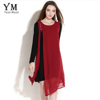 Fashion Chiffon Patchwork Women Asymmetrical Dress Brand Zipper Design Elegant Knee Length Dress Autumn Big Size