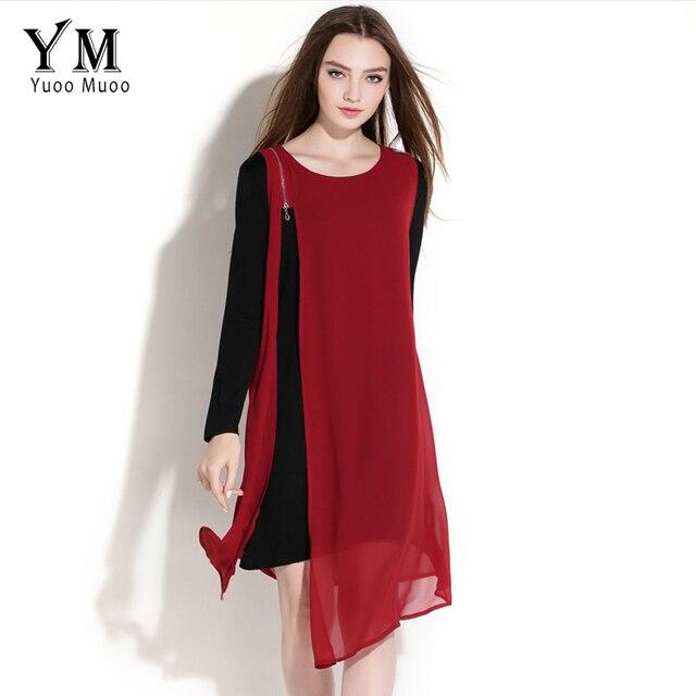 YuooMuoo Fashion Chiffon Patchwork Women Asymmetrical Dress Brand Zipper Design Elegant Dress Autumn Big Size Women Clothes