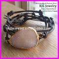 Free shipping! Very nice Druzy stone bracelet Drusy Agate Quartz Dark Brown Knotted Leather wrap wristwork bracelet 5pcs/lot