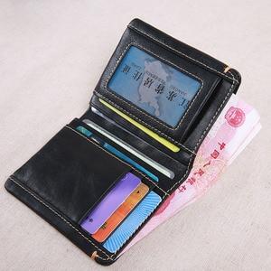 Image 3 - AETOO cartera corta de piel de vaca de primera capa para hombre, billetera juvenil de piel de vaca, hecha a mano, sencilla y suave, mini billetera vertical