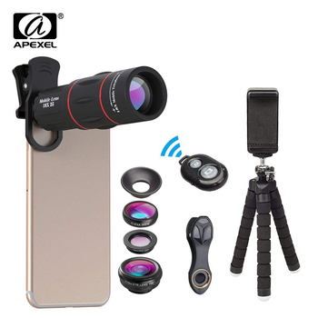 APEXEL Phone Lens Kit Fisheye Wide Angle macro 18X telescope Lens telephoto with 3 in 1 lens for Samsung Huawei all smartphones