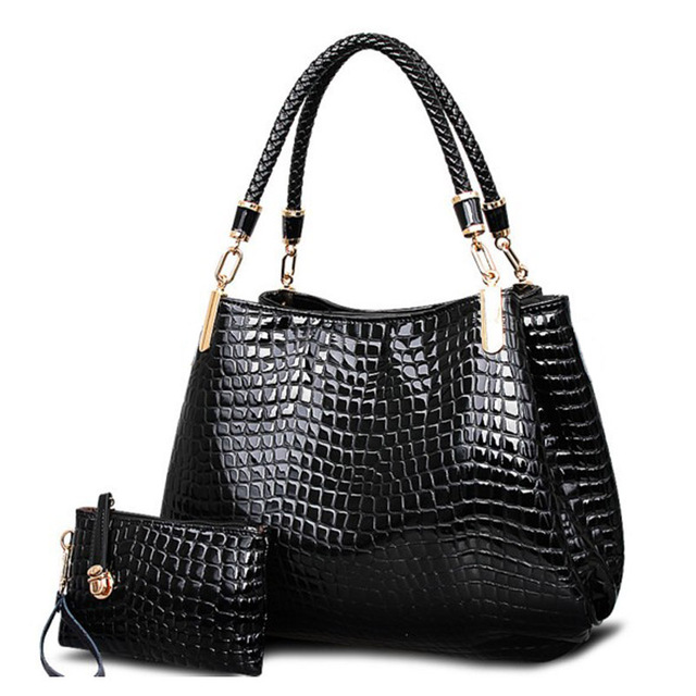 suutoop crocodile borse women totes lady handbag+purse/wallet carteras mujer big capacity black white shoulder kit 2 bags/set