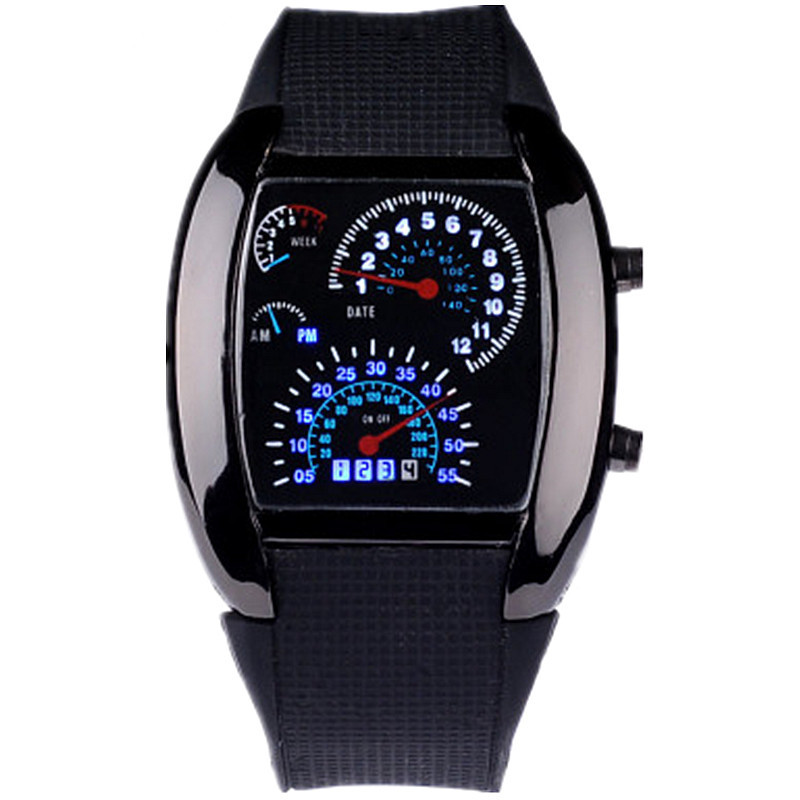 HOT SALE RPM Turbo Blue Flash LED Mens Sports Car Meter Dial Watch Full Black Stainless Steel Rectangle Man Clock Air Meter Hour stylish 8 led blue light digit stainless steel bracelet wrist watch black 1 cr2016