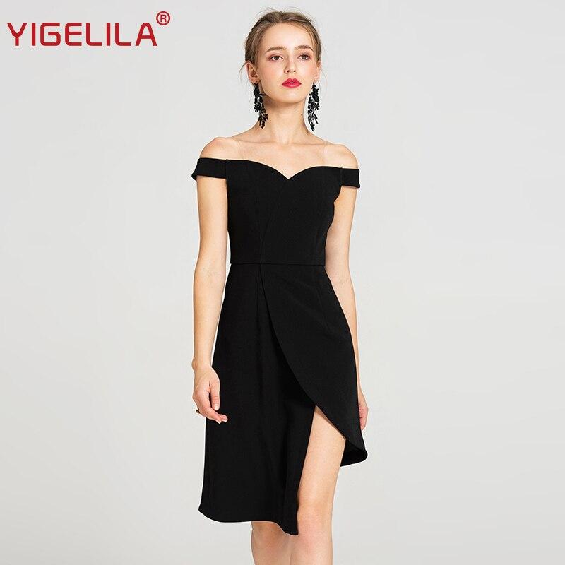 Cou Épaule Asymétrique 2018 Genou Femmes 62844 D'été Solide Mince Mode Noire Robe Noir Yigelila Slash Petite Hors Longueur HgqR8p8w