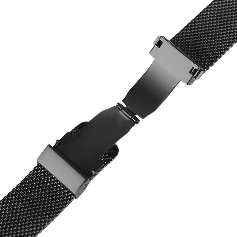 Mesh Milanese bransoletka zapięcie od zegarków wysokiej jakości 18mm 20mm 22mm srebrny czarny zegarek na rękę zespół pasek na zamiennik zegara
