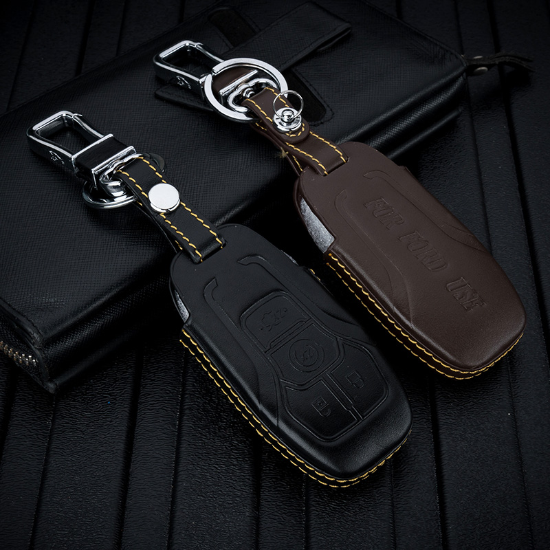 ABAIWAI Car Key Covers for Ford EVEREST Mustang Taurus Keychain Case Remote Holder Bag Auto Parts