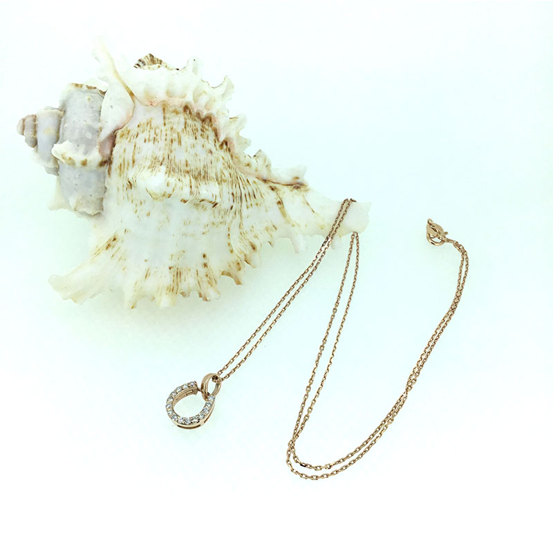ANI 14K Rose Gold (AU750) Wedding Pendant 0.161 Carat I J/SI Real Natural Diamond Three Color Women Engagement Chain Necklace