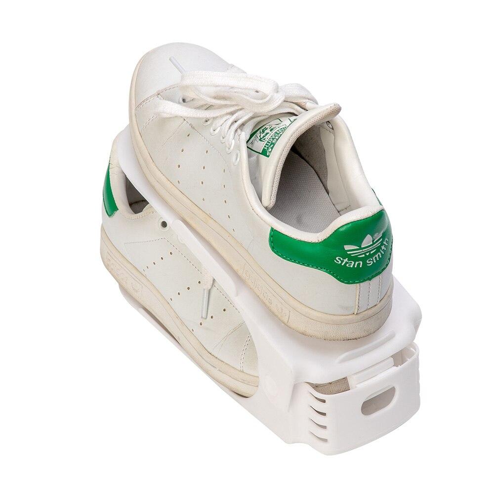 Image 4 - 10 шт. Пластиковые регулируемые стойки для обуви Органайзер для хранения, домашний двойной слой стойки держатель для мужчин или женщин обувь Органайзер Белый-in Полки и органайзеры для обуви from Дом и животные on AliExpress