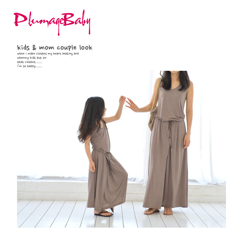Hot sale mother and daughter family matching outfit summer fashion long girls Modal maxi elegant dress child clothes teenager