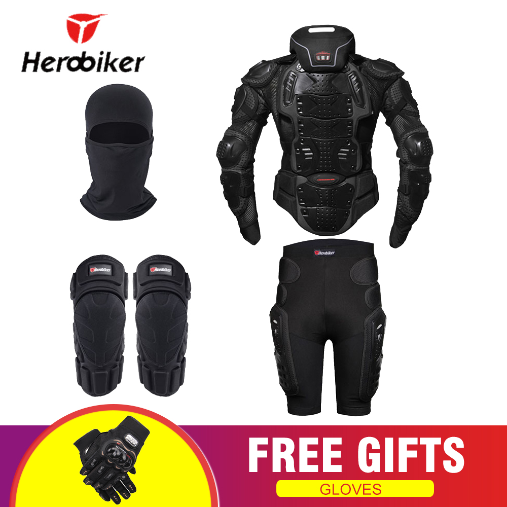 HEROBIKER Motorcycle Protection Body Armor Motocross Moto Jacket Protective Gear Motorcycle Jackets With Neck Protector Black motorcycles armor protection motocross clothing protector moto cross back armor protector protection motorcycle jacket s 3xl