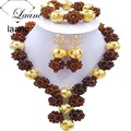 Brand Laanc 18inches African Women Beading Jewerly Set Nigerian Wedding Beads Crystal Brown AL158