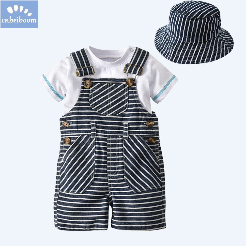 kids 1-3 year Baby Clothes Cotton Boys Suit Sets white t-shirt + Striped Hat + Overalls Outfits Set Casual chidren Boy Clothes