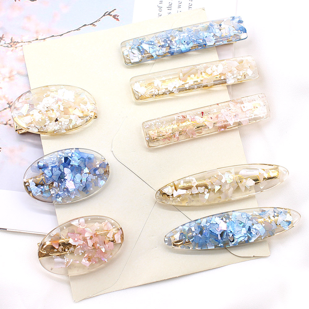 2019 Korea Pink Shell Hairpins Vintage Geometric Oval Hair Clips Hair Accessories For Women Japan Chic Girls Hairgrip Barrettes