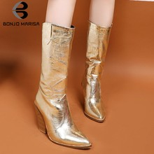 BONJOMARISA Mid Calf Boots Woman Fashion 2019 Snake Prints Blocked High Heels Shoes Pointed Toe Med Calf Ladies Boots Size 33-44(China)