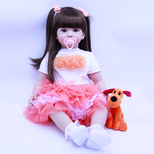 60 cm Silicone Reborn Baby Doll with 1pcs plush doll toy For Girl Babies Toy Wear Princess skirt Children Birthday bebe Gift toy
