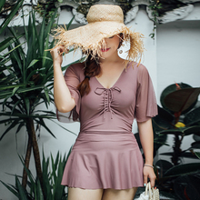 Women's Swimsuit Short Sleeve Skirted Bathing Suits Plus Size Swimwear Female Big Cup Solid Comfortable Swimdress Beachwear недорого