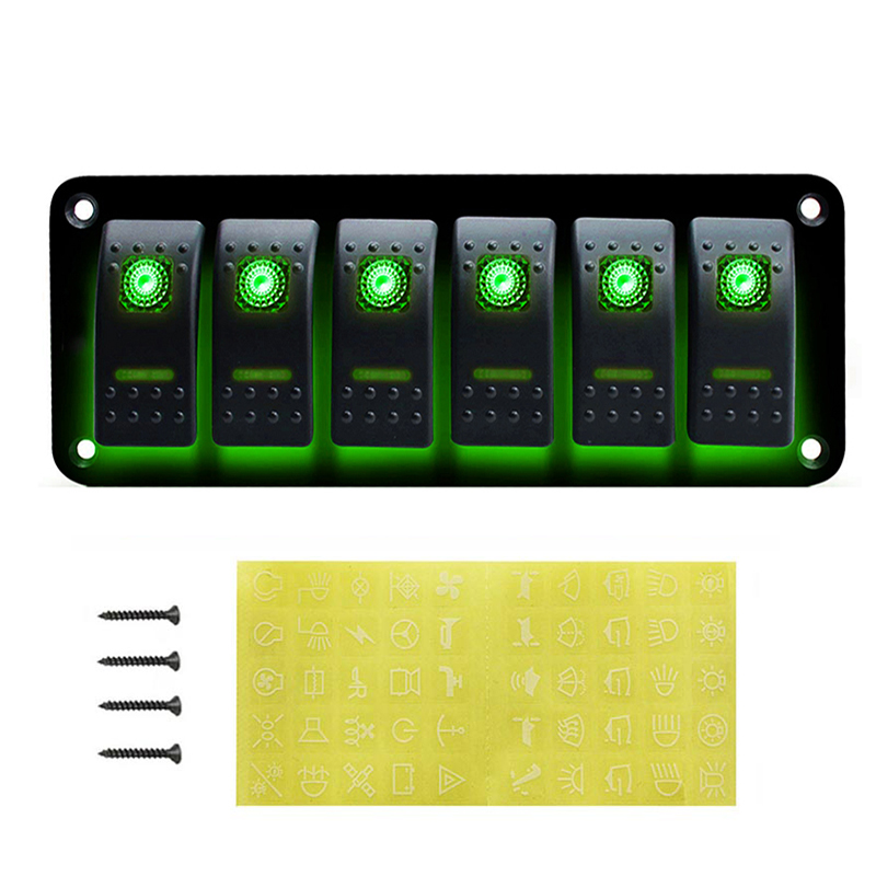 3 6 Gang Dual LED Marine Boat Rocker Switch Panel 12V 24V for Truck Boat Car Switch Panel Lighter Socket Circuit Breaker