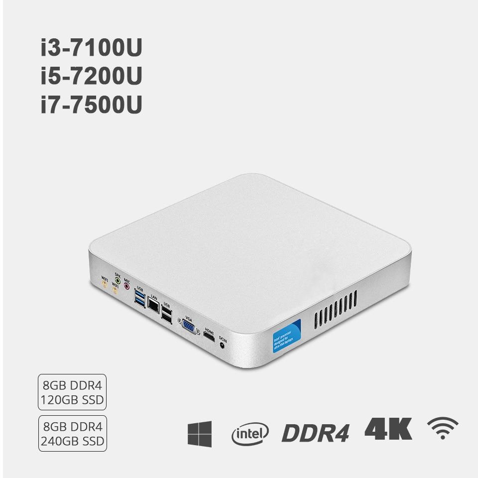 Mini PC Intel Core i7 7500U i5 7200U i3 7100U 8GB DDR4 240GB SSD 4K 300M WiFi HDMI VGA 6*USB Gigabit Ethernet Windows 10 Linux