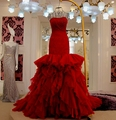 Vestido de noiva dois em um Elegant Mermaid Red Wedding Dress Beaded Sweetheart Fuchsia Wedding Party Dresses Gowns For Mariage