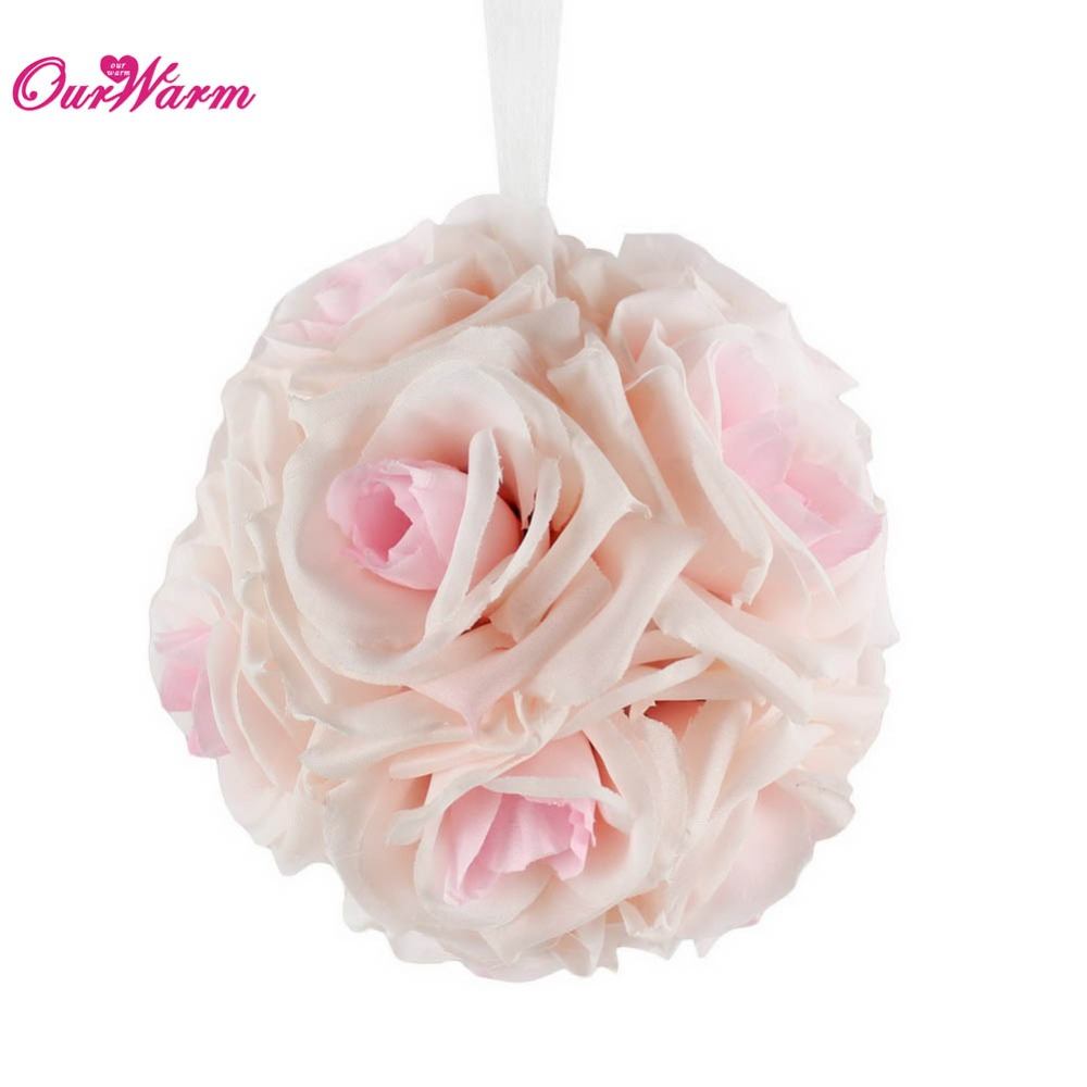 12pcs 13cm Artificial Silk Flower Kissing Pomander Bouquet Balls
