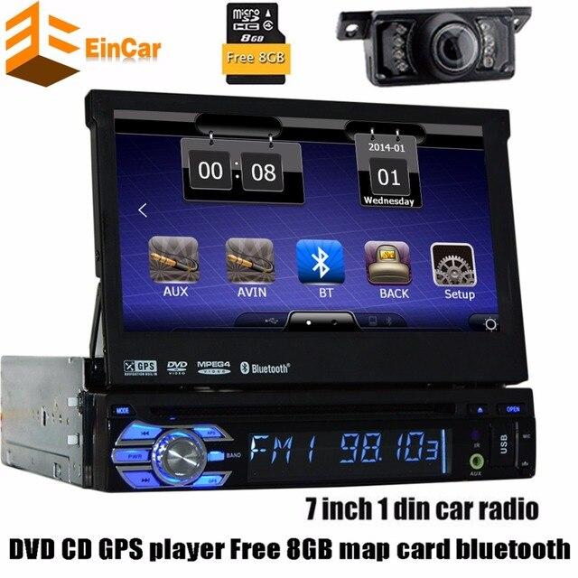 1Din Dvd-плеер Автомобиля Gps-навигация В тире Автомобильный радиоприемник GPS Навигатор одноместный 1din Авторадио Аудио Стерео руль + свободная камера