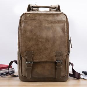Image 3 - Nowy luksusowy plecak szkolny wodoodporny skórzany plecak na laptopa mężczyźni podróż nastoletni uczeń plecak torba mężczyzna Bagpack Mochila