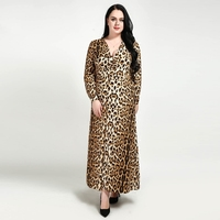 2018 Women Plus size 2XL 3XL 4XL 5XL 6XL 7XL Leopard V neck Dress Women's Oversized Vintage Elegant Sexy Dresses