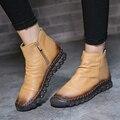 Mulheres Botas de inverno Quente Fur Ankle Boots Botas de Neve de Qualidade couro Sapatos Baixos das Mulheres Zapatos Mujer Tamanho Vermelho Amarelo Preto 39-44