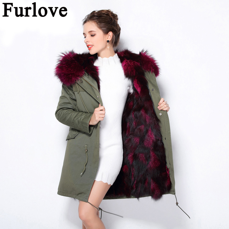 Furlove Winter Women Warm Natural Fox Fur Liner Coat Detachable Long Parka Outwear With Real Raccoon Fur Trim Hood Plus Size 2017 winter new clothes to overcome the coat of women in the long reed rabbit hair fur fur coat fox raccoon fur collar