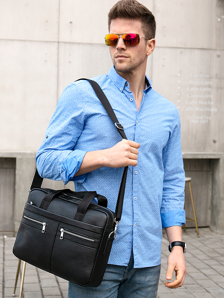 WESTAL Briefcase Male Laptop-Bag Messenger-Bags Natural-Leather Men's Man