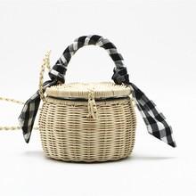 INS popular female summer mini Lady Woven Bolsa hand-woven crossbody bag rattan portable grid cloth beach Luxury Handbags