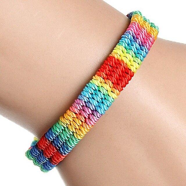 Pulsera de Amistad de hilo de cuerda trenzada tejida con orgullo LGBT Arco Iris brasileño grueso