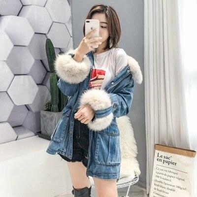 2018 Femme Fourrure Doudoune Veste Surmonter Manteau Bleu Qualité Denim Tarte Amovible Col Meilleure Renard En Chine Long De Provenance FwFrqdvf5