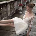 Wedding Dress 2017 Bohemian Short Lace Wedding Dresses Beach Half Sleeve Scoop Neck Illusion Back Lace Vestido De Noiva