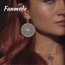 Funmode Bridal Fashion Chandelier Earrings Austrian Crystal Zircon Pave Spiral Filigree Big Circle Round Drop Earrings F023E faux crystal filigree chandelier earrings