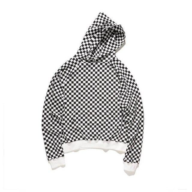 97b5e5388210da Men black white plaid oversized hip hop hoodie checkerboard sweatshirts  women couple vintage streetwear justin bieber hoody