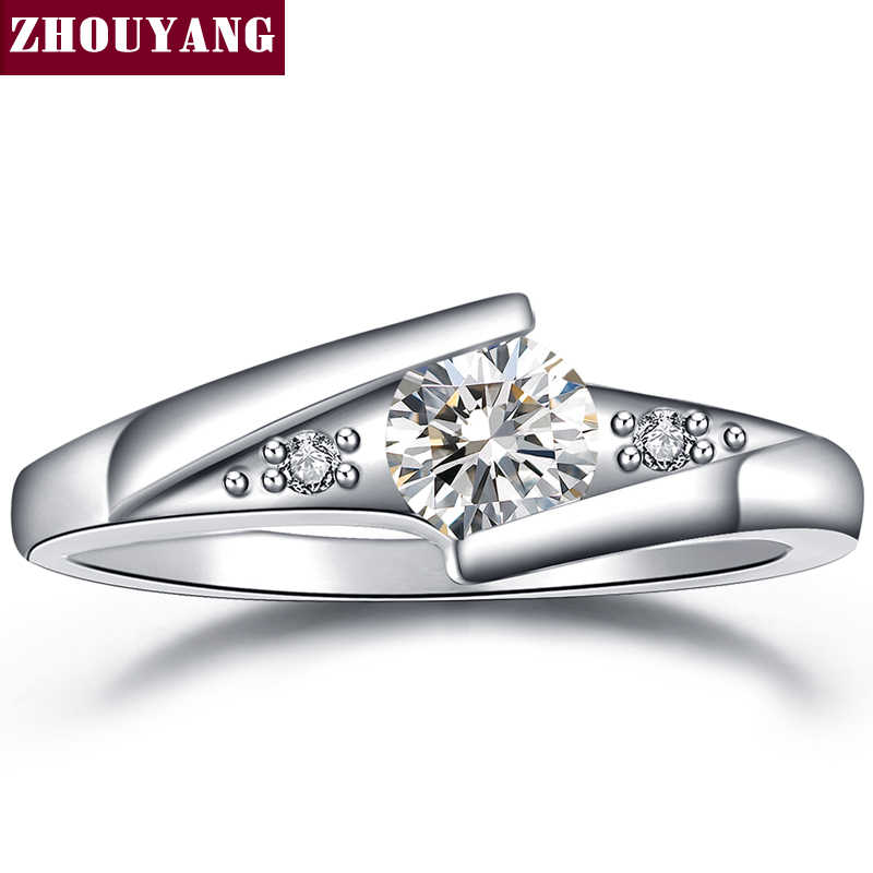 Classical Silver Color Cubic Zirconia Fashion Wedding & Engagement Ring Jewelry For Women ZYR504