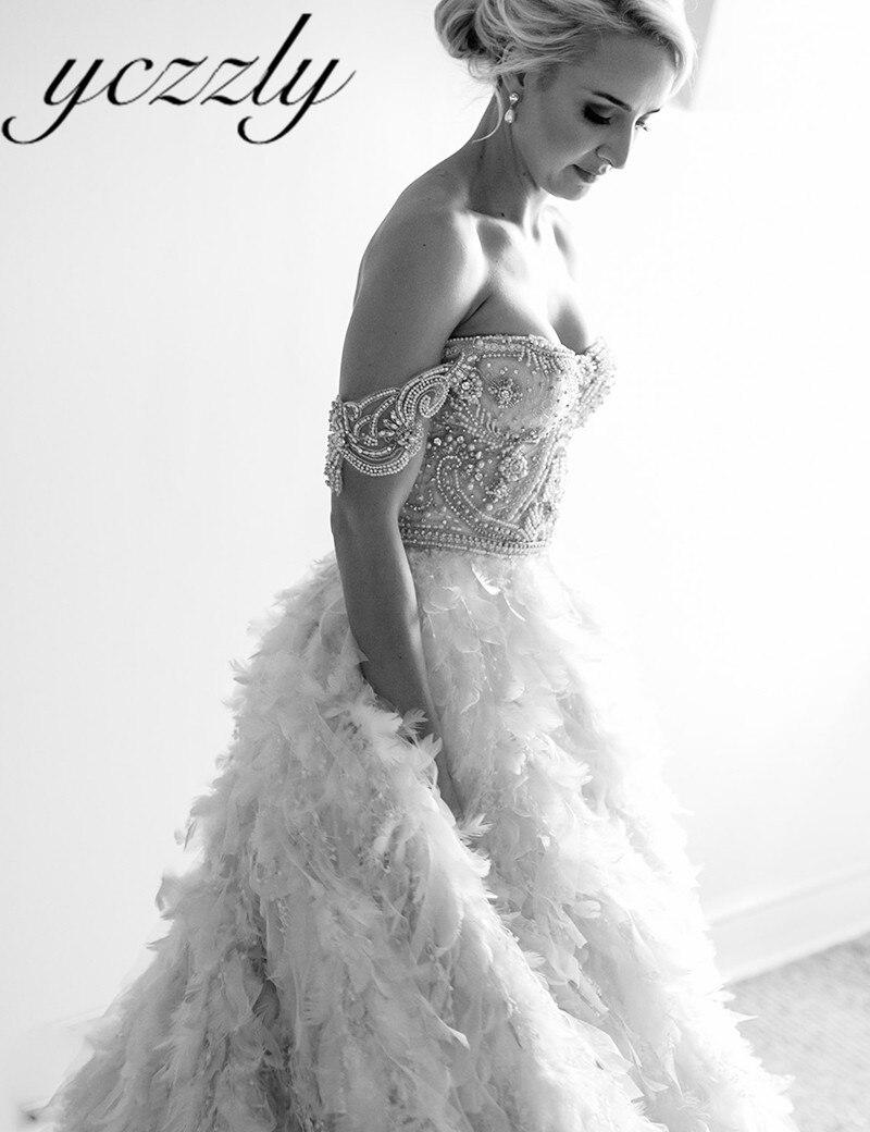Real Brides Luxury Off Shoulder Ball Gown Diamond Pearls Dubai
