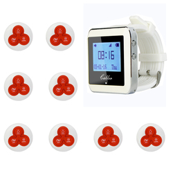 Retekess 1 Watch Pager Receiver+8 Call Button 433MHz Restaurant Pager Wireless Calling System Waiter Call Pager System F4413B