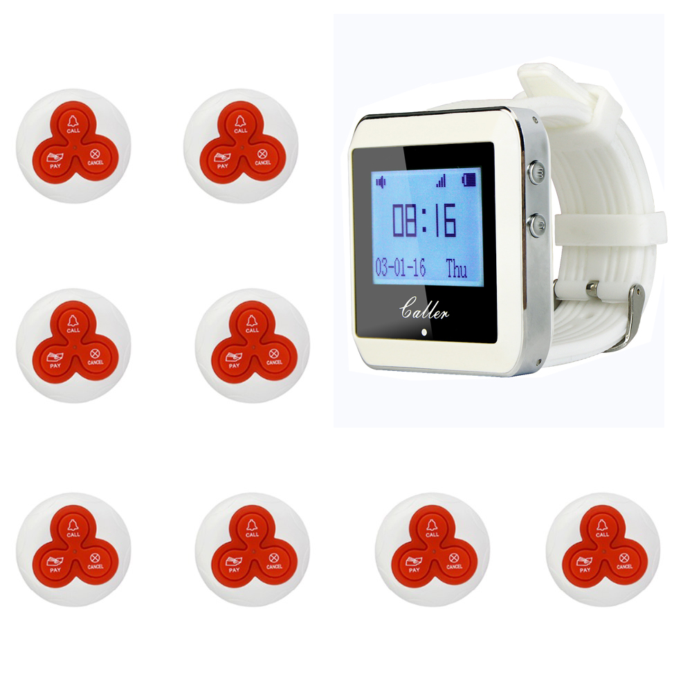 TIVDIO 1 Watch Pager Receiver+8 Call Button 433MHz Restaurant Pager Wireless Calling System Waiter Call Pager System F4413B service call bell pager system 4pcs of wrist watch receiver and 20pcs table buzzer button with single key