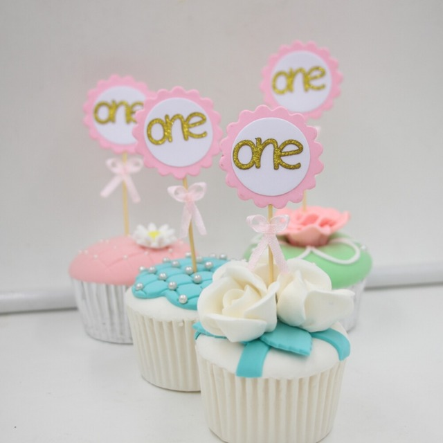 Number One Cupcake Toppers with Pink Bow Gold 1st Birthday Cake