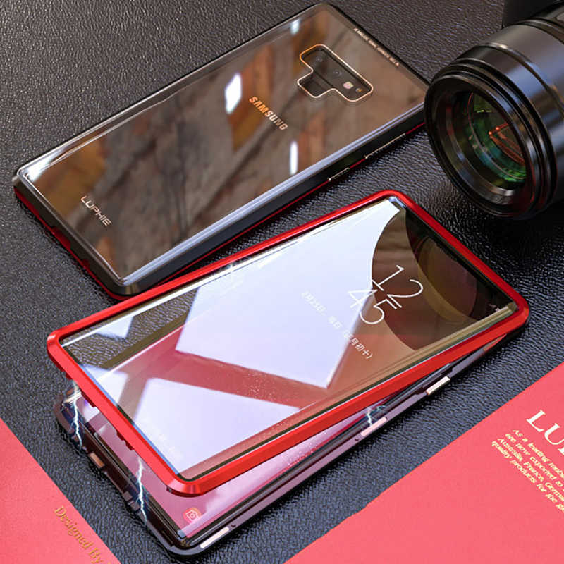 meet 1d66a 43803 Double sided front+back tempered glass metal Magnetic case for samsung  galaxy s9 plus note 9 note9 Aluminum bumper magnet cover