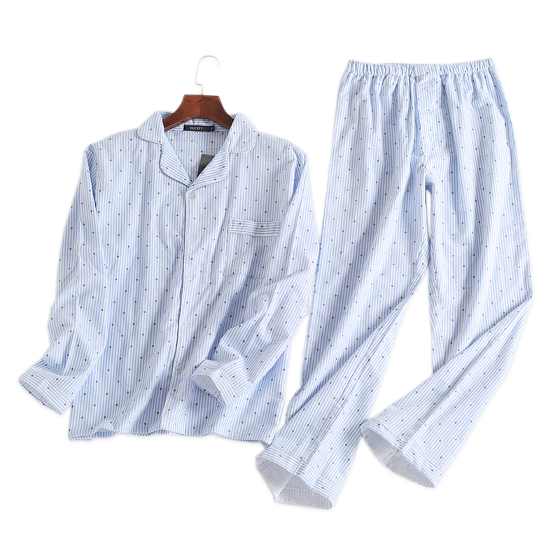 Pajamas-Sets Sleepwear Polka-Dot Male Mens 100%Cotton Blue Fashion Autumn For Hombre