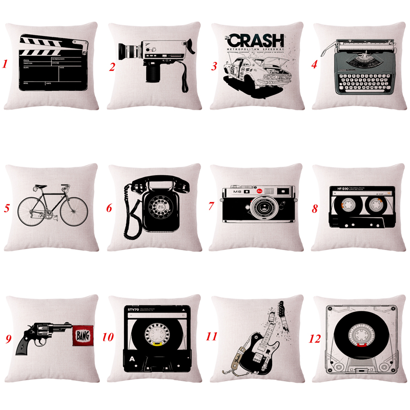 Black and Beige Decorative throw pillows film tools vintage cushion cover for sofa car decor retro pillowcase in stock 45x45cm