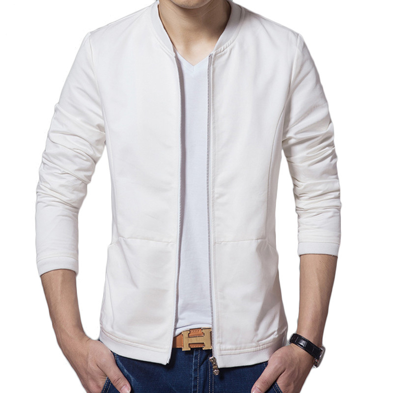 brand white jacket men veste homme 2015 fashion baseball collar design mens slim fit zipper. Black Bedroom Furniture Sets. Home Design Ideas