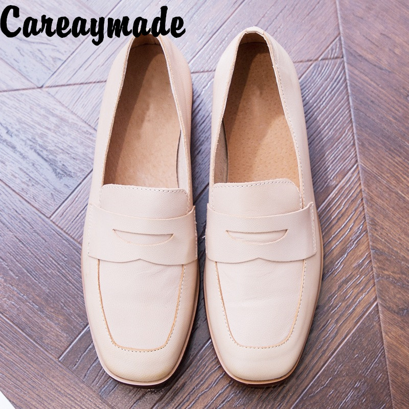 Careaymade-Lterary artistic thick-heeled cowhide casual shoes with comfortable wear-resistant single-footed women's shoes